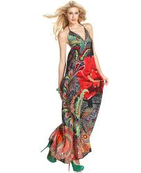 desigual dress sleeveless v neck halter floral printed maxi