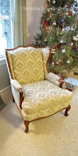 affordable diy no sew wingback chair re upholster