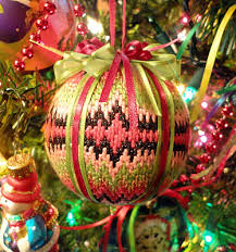 bargello christmas ornament needlepoint stitched by my daughter
