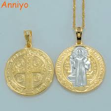 catholic necklaces anniyo two tone gold color catholic benedict medal