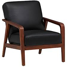 How To Use Accent Chairs Amazon Com Rivet Huxley Leather Mid Century Accent Chair Black