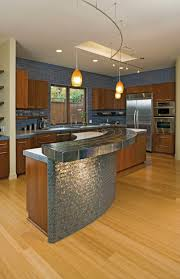 curved kitchen island designs curved brown wooden kitchen islands and cabinet with grey table on