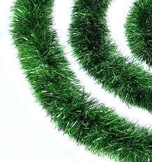 christmas tinsel 50 festive green christmas tinsel garland unlit 8 ply