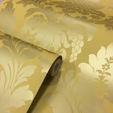 shimmer metallic grande damask wallpaper mustard gold ilw261553