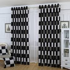chambre ou blackout chambre ou le salon polyester noir à damier rideaux