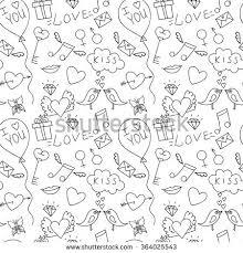 hand drawn love seamless pattern st stock vector 364025543