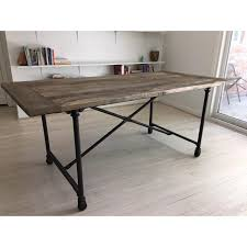 restoration hardware flatiron table restoration hardware flat iron dining table chairish