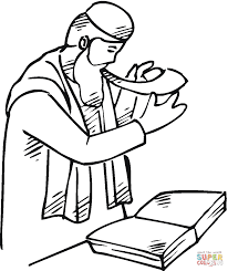 man with a shofar near scroll coloring page free printable