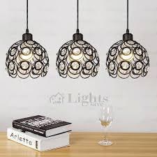 black crystal pendant light new wrought iron pendant light black wrought iron and crystal three