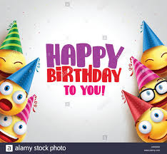 happy birthday hat happy birthday greeting with smileys vector background and