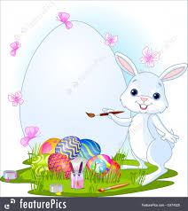 illustration of easter bunny painting easter eggs
