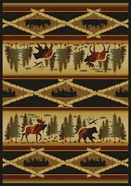 Rustic Rug Wilderness Canoes Rustic Rugs Picture
