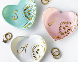modern dish ring holder images White and gold monogrammed jewelry dish heart ceramic ring jpg