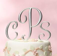 lillian cake topper silver finish monogram cake topper couplesoncakes