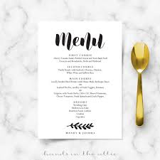 wedding menu cards simple wedding menu card printable templates in the attic
