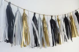 black white gold silver grey wedding tissue tassel garland