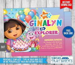 dora the explorer birthday invitation 3 by templatemansion on