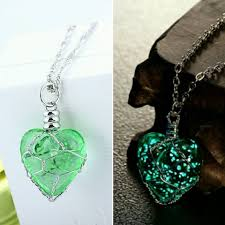 green heart necklace images Glow in the dark magic heart pendant unicorn kiss jpg