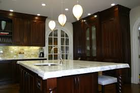 Mahogany Kitchen Designs L Shape Kitchen Decoration Using White Carrera Marble Kitchen