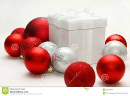 christmas gift box sitting isolated with red and silver ornament