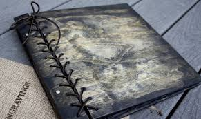 rustic leather photo album large personalized rustic wood photo album w leather spine