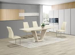 contemporary dining tables extendable ga loriga cream gloss glass designer dining table extending 160 220
