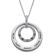 birthstones necklace for sterling silver stainless steel engraved family name birthstone