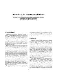 offshoring in the pharmaceutical industry mridula pore yu pu