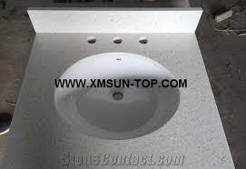White Sparkle Quartz Stone Bathroom CountertopsWhite Quartz Stone - Quartz bathroom countertops with sinks