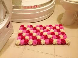 Bathroom Rugs For Kids - pink collorful pom poms bath mat bathroom rug doormat pet mat