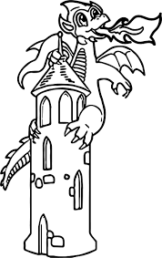 castle fire dragon coloring wecoloringpage
