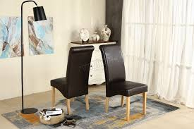 Scroll Back Leather Dining Chairs Premium Dining Chairs Faux Leather Roll Top Scroll High Back Wood