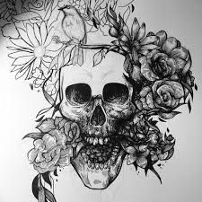 floral skull drawing search tattoos
