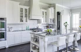 grey granite countertops kitchens white cabinets wood
