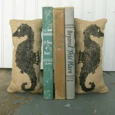 Unique Bookends Seahorse Petit Burlap Pillow Pair Unique Paper Weight