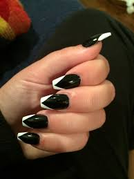 squoval black u0026 white french tip nails my nails pinterest