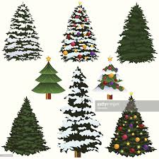 various types of christmas trees isolated on white vector art