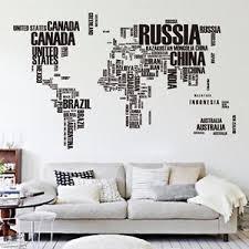 stickers muraux chambre sticker mural carte du monde déco décoration autocollant mur