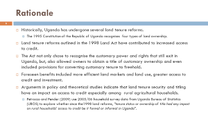 Formal Credit Policy Land Tenure Or A Land Title What Matters In Access To Credit