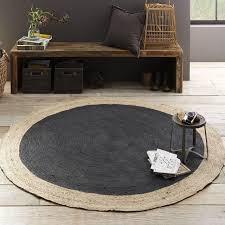 Black Round Rug Bordered Round Jute Rug Slate West Elm