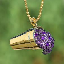 purple gold necklace images Purple drank double cup amethyst pendant and chain dfine jpeg