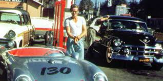 james dean stopping at a gas station before setting off on his