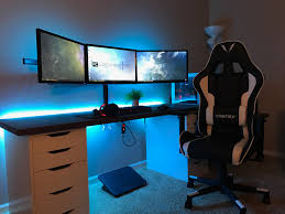 Gaming Desk For 3 Monitors by Updated Gaming Setup Changed Again Album On Imgur