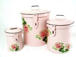 vintage french country pink roses kitchen canisters