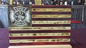 How To Display American Flag On Wall Rustic Firefighter Tribute American Flag Wall Hanging