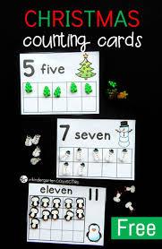 christmas eraser counting cards math holidays and kindergarten