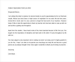 teacher appreciation letter template thank you letter to teacher