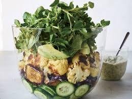 roasted eggplant and cauliflower salad with tahini green goddess