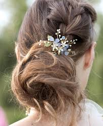 hair pieces for wedding forget me not bridal hairpin light blue hair accessory elibre