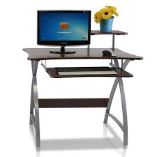 furinno besi dark wood grain computer desk with keyboard tray fnbl 22005 the home depot